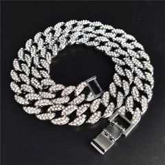 Iced Out Bling Crystal Rhinestone 15mm Men Woman Cuban Link Chain CZ Necklace Bracelets Jewelry Gift Silver 8 Inch