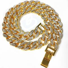 Iced Out Bling Crystal Rhinestone 15mm Men Woman Cuban Link Chain CZ Necklace Jewelry God 20 inch