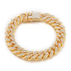 Bling Bling Full Iced Out Paved Rhinestones Gold Silver  Curb Cuban Chain CZ Bling Rapper Necklaces god 8 inch