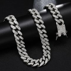 Bling Bling Full Iced Out Paved Rhinestones Gold Silver  Curb Cuban Chain CZ Bling Rapper Necklaces silver 18 inch
