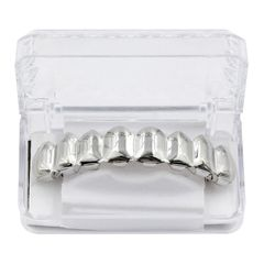 Hip hop gold teeth grillz 8 teeth Top & Bottom Shiny Grills punk teeth caps costume party silver bottom one size