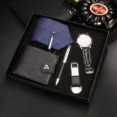5PCS/SET High Quality Set Watch Wallet Pen Keychain Tie Present Men's Fashion Accessories black