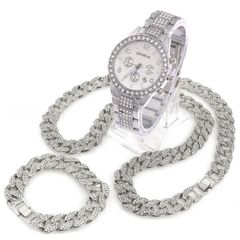 3 Pcs/Set Iced Out Watch 18