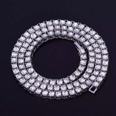 Customied alloy micro pave 1 row 5MM hip hop necklace ice out men's tennis chain link jewelry Silver 18 inch