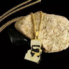 [Valentine Gifts] Punk Hip-Hop Zircon Pendant Necklaces For Men Long Chain Bling Crystal Rhinestone gold 2 one size