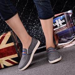 2019 denim canvas shoes men's new style  foot loafers men's shoes gray 39 canvas