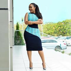 Dresses 2019 New Stripe splicing print dress commuter OL dresses m blue