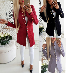Coats New Women's Fashion Long Sleeve Button Slim Suit Coats Jackets dresses red S