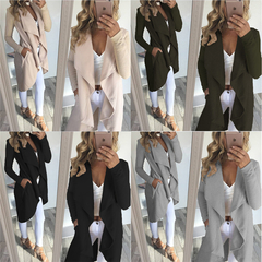 Coats New Women's Clothes Wear Mid-Autumn and Winter Long Fabric Windshield Open-Shirt Coats jackets gray S
