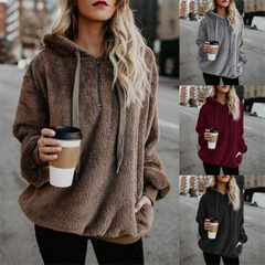 Coats women's Clothes fashion long sleeve Cap Pure Colored Women's Sanitary sweater and jackets brown L