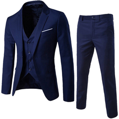 Suits Fashion Men Jackets Slim 3 Pieces Suit Blazer Business Wedding Party Pants Plus Size Suits Set Blue L