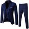 Suits Fashion Men Jackets Slim 3 Pieces Suit Blazer Business Wedding Party Pants Plus Size Suits Set Blue XL
