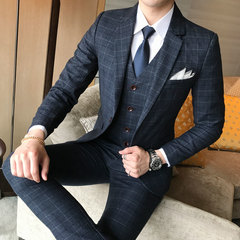 Suits New Men's Fashion Boutique Plaid Wedding Dress Suit Three-piece Male Formal Business Casual black 4XL