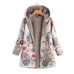 Coats hooded Coats Cotton Winter Jacket Womens Outwear coat Warm Outwear Floral Print Hooded Pockets hot pink M