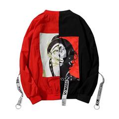 Jackets Women New Fashion Thin Girl Windbreaker Outwear Bomber Female Baseball Women Men Coat Red black XL
