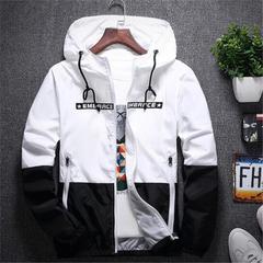 Coats New Bomber Hooded Jacket Men Casual Slim Patchwork Windbreaker Jacket Male Outwear Zipper Thin White M