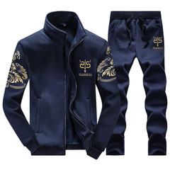 Coats Men Sportwear Suit Without Hoodie Men Casual Active Suit Zipper Outwear 2PC Jacket+Pants Sets Dark blue M
