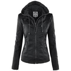 Jackets leather Women hoodies Motorcycle Jacket Black Outerwear faux leather PU Jacket 2019 Coat HOT Black S