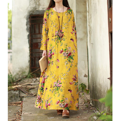 Dresses 2019 New Vintage Women Dress Plus Size Long Sleeves Pockets O Neck Cotton Linen Loose Robe 3XL Yellow