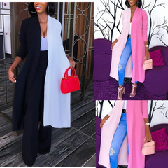 Tops 2019 Women's Loose Long Sleeve Cardigan Casual Kimono Shawl Patchwork V-neck Long Tops Blouse Black S