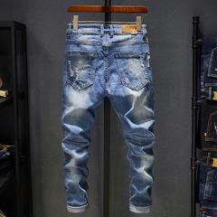 Trousers Top Fashion Mens Jeans 2019 Hip Hop  Men Solid Cotton Full Length Mid Black Color Sale blue 28