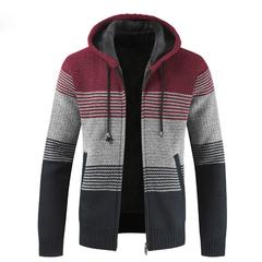 Coat Sweater Men 2019 Warm Hooded Cardigan Men Striped  Wool Liner Zipper Fleece Coats Men Red S