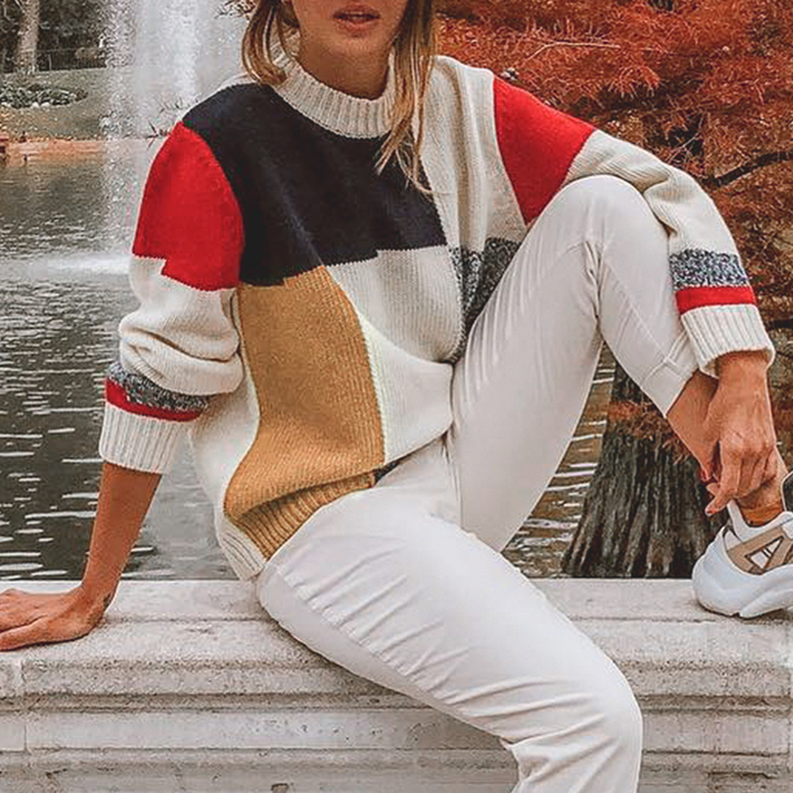 Sweaters Autumn Women Fashion Multicolor Block O Neck Pullover Female Causal Long Sleeve Knit Tops Multi M