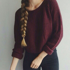 Sweaters women and pullovers long sleeve casual crop sweater slim solid knitted jumpers sweate wine red S