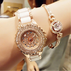 Fashion Wrist Watch Women High EndLuxury Shiny Rhinestone Ceramic Watchband Quartz Wristwatch golden and white
