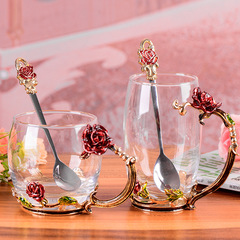 Glass cup, water cup, creative cup, business gift glass transparent Red rose short cup with spoon