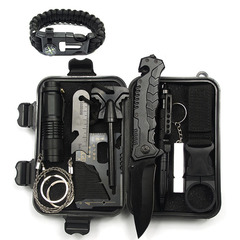 Multi-functional tool first-aid equipment Field survival tool box travel vehicle survival kit black 20*15*10