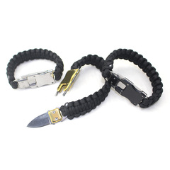 Outdoor stainless steel knife bracelet umbrella rope braiding knife rope black one size