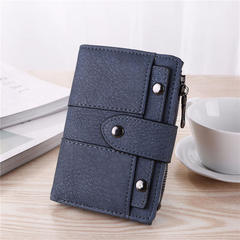 New fashion wallets Short Retro Grinding Lady Three-fold Small PU Wallet coin pocket Women bag A9004 blue one size