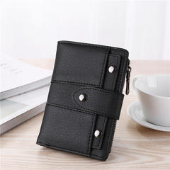 New fashion wallets Short Retro Grinding Lady Three-fold Small PU Wallet coin pocket Women bag A9004 black one size