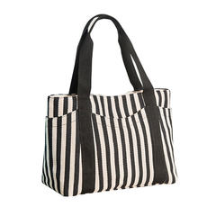Fashion women's striped Women's Bags women's portable shoulder bag Tote canvas Handbags E9007 black one size