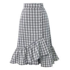 Women's Clothes New Plaid slim skirt women's irregular flounced skirt Women Dresses C9035 average size white