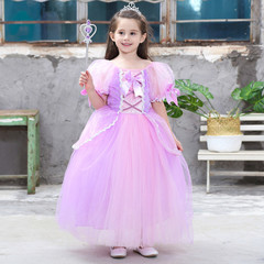 Kids Sets Children Girls Cosplay Dress Clothes Party Costume Gown Princess Clothing Dresses pink 100