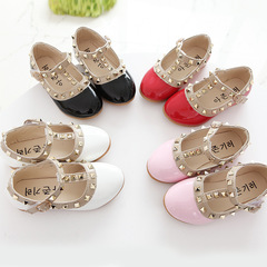 Kids Girls Children Leather Sweet Pink White Black Princess Slip-ons Loafers Nude Peas Boat Shoes red 30