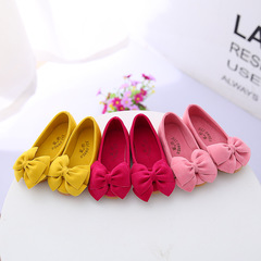 Kids Girls Children Leather Sweet Bowknot Pink Yellow Red Princess Slip-ons Nude Peas Boat Shoes Rose red 30