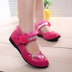 Kids Girls Children Leather Sweet Pink White Black Princess Slip-ons Loafers Nude Peas Shoes Girl pink 26