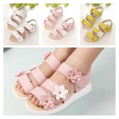 Kids Girls Fashion Casual PU Leather Floral Pink Yellow White Princess Sandals Shoes Girl Shoe Yellow 30