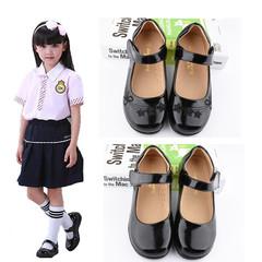 Kids Girls Children Leather School Students Black Princess Slip-ons Loafers Nude Peas Shoes Slip-on G-black1 26