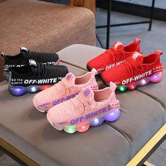 Kids Girls Boys Casual Children Luminous Flats Shoes Sports Running Sneakers Girl Boy Sport Sneaker pink 21