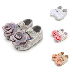 Newborn Infant Kids Girls Pink White Cute Floral Baby Toddler Peas Nude Shoes Princess Slip-ons pink 12