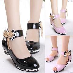 Kids Girls Black Pink Leather Princess Sweet Princess Slip-ons Loafers Nude Peas Boat Shoes Slip-on black 27