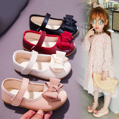 Kids Girls Children Leather Sweet Pink Red Princess Velcro Loafers Nude Peas Boat Shoes Slip-on pink 22