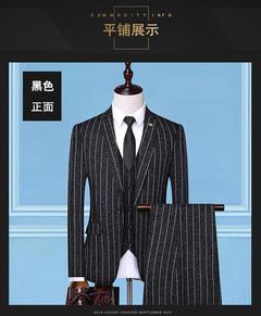 Men's woven tailored suit blazer + vest + trousers 3pcs set business casual wear wedding suit fitted BLACK m