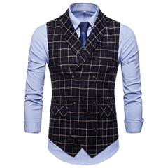 Men's clothes men woven spring/autumn tailored  vest business casual wear wedding suit fitted body black M