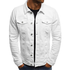 Men's spring autumn washed jacket with denim look European style WHITE l