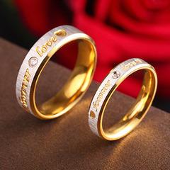 Couples to ring stainless steel wedding rings popular jewelry titanium steel set diamond gold ring Men's golden 5#